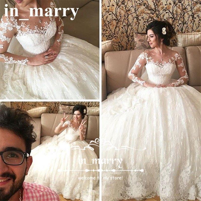 Discount Modest Vintage Lace Muslim Kaftan Wedding Dresses 2017 A ...