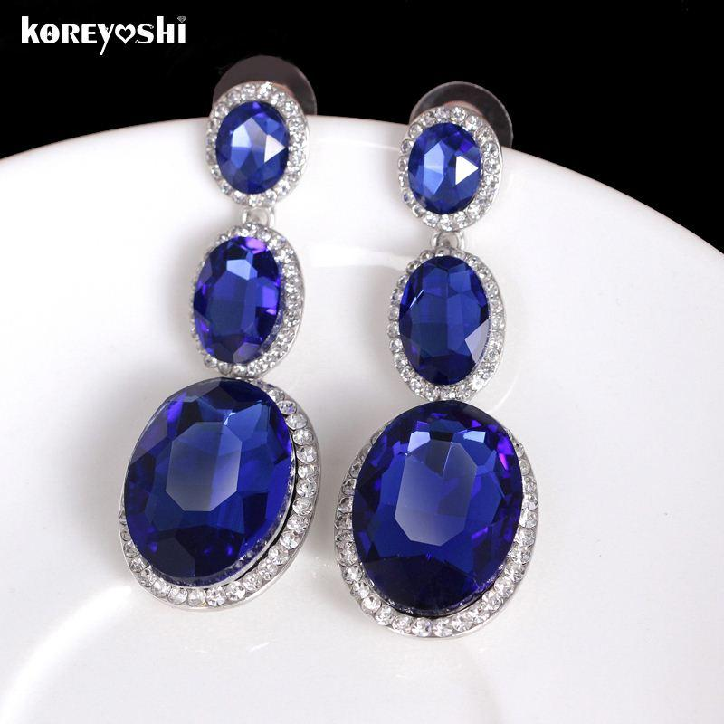 2018 New Indian Jewelry Royal Blue Crystal Earrings For Women Wedding Long Earings Fashion Boucle D Oreille Femme Aretes From Jiekeyi20170310