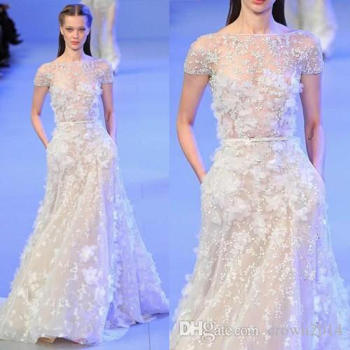 Elie Saab Evening Dress Short Sleeve Sheer Bateau Neck 3D Floral Appliques Beaded Tulle Bridal Dresses High Quality Designer Custom Made