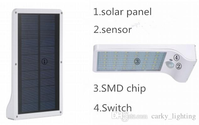 Solar led light wall mounted for outdoor lighting led chip 3.7V 2200mAH 6 hours duration with Daylight + motion sensor CE Approval