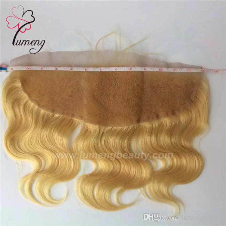613 couleur blonde 13 * 4 pouces dentelle frontale top postiche oreille à oreille dentelle postérieur postiche femmes perruques