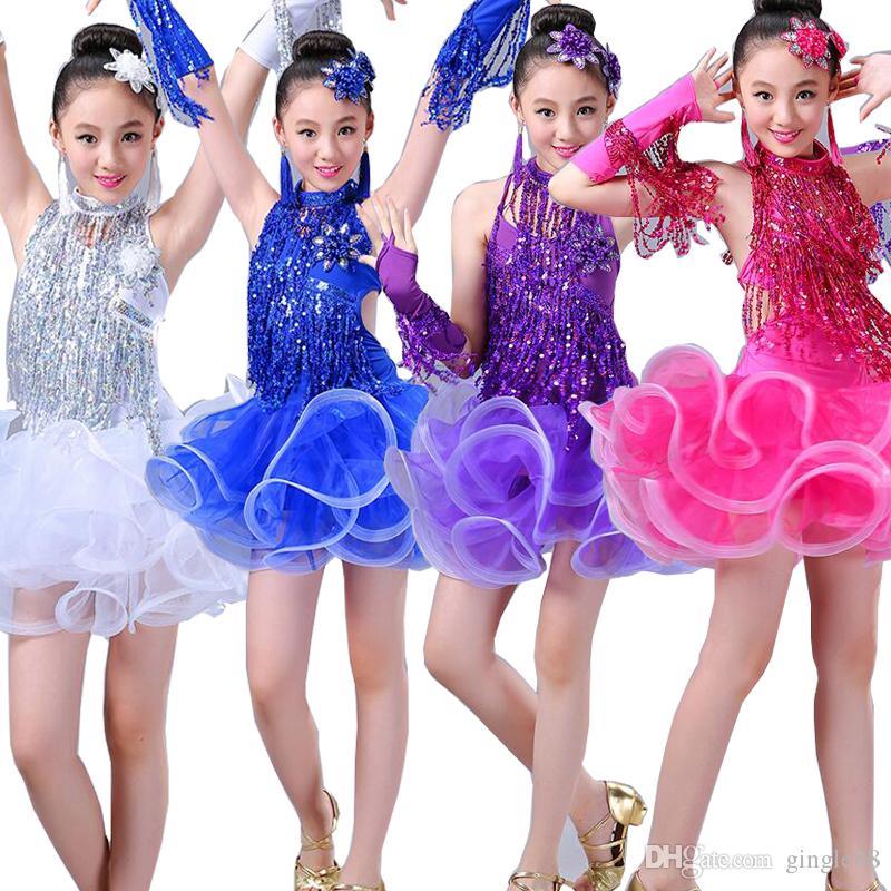 ea1e83e758d3 Girls Tassels Latin Dancing Dress Kids Sequined Ballroom Modern ...