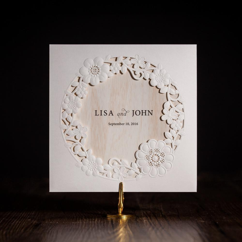 Wholesale Cw5175 White Royal Wedding Invitation Card Greeting With Laser Cut And Ribbon