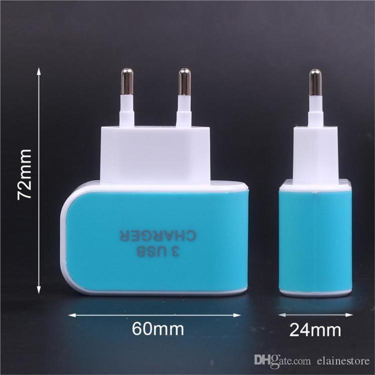 Светодиодные Тройной 3USB порты USB 3.1A AC EU США конфеты цвет стены зарядное устройство дома вилка для iphone Samsung андроид телефонов