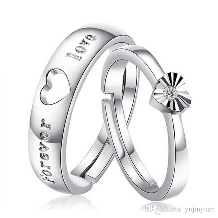 New Couple Rings YJY Fashion Platinum Plating Women Jewelry Heart Shape Wedding Engagement For Valentines Day Gift Cheap