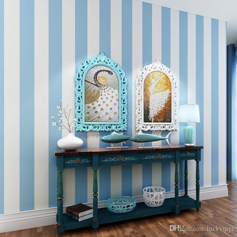 Modernen Minimalistischen Vliestapete Breite Streifen Blau Rosa Weiß  Mediterranen Tapeten Wohnzimmer Schlafzimmer Kinderzimmer Wand Dekor