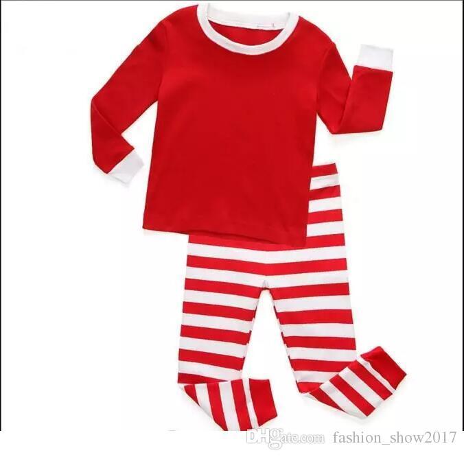 Outono Inverno Criança Crianças Manga Longa Set Vermelho Bebê Meninos Meninas Listrado Outfits Natal Pijamas Pijamas Set
