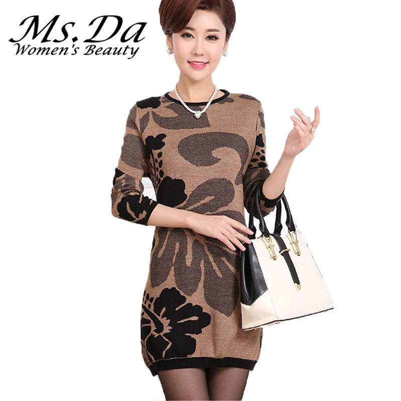 e46b1f43cad61 2019 Wholesale 2016 Women Sweaters Dresses Winter Floral Pullover Tunics  Poncho Casual Plus Size Long Sweater Pull Femme Poncho L~3XXXL