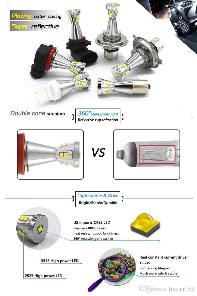 New 12~24V 45w T20-7740/7743 led car lights bulbs for side brake light turning parking signallight white