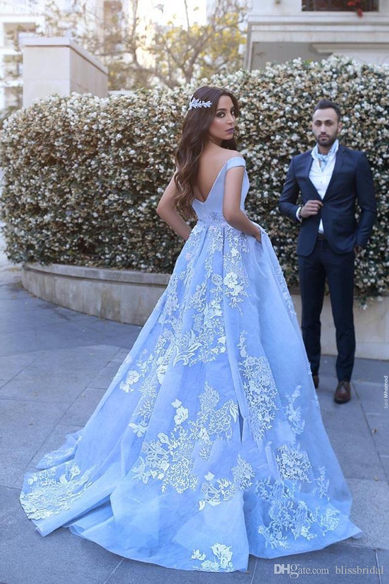 2017 Mohammed Off-the-shoulder Elegant Lace Applique Floor-Length Wedding Dress V-Neck Vintage Sweep Train Backless Bridal Gown Free Ship