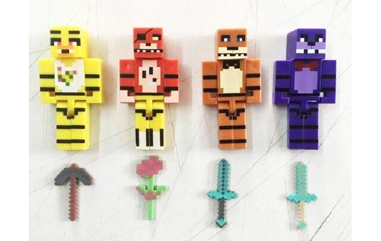 Beş Nights freddy'nin 7 cm Yapı Taşı FNAF Freddy Ayı Bonnie Tavşan Foxy Fox Chica Civciv Action Figure Oyuncak Çocuk Minifigures Xmas Hediye