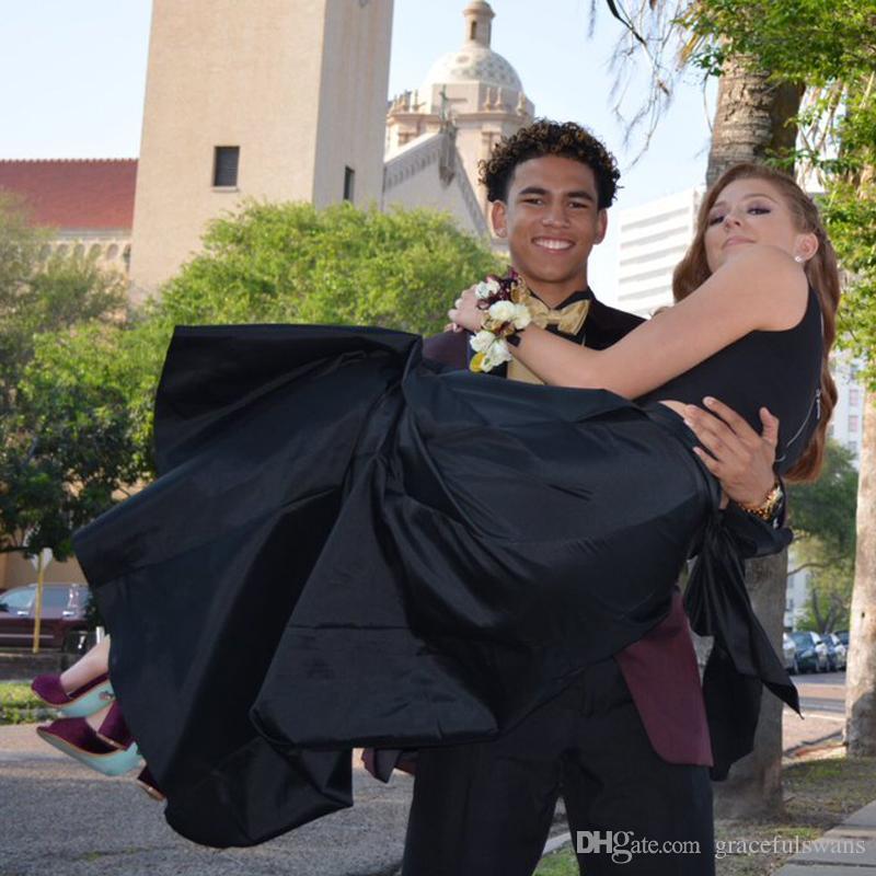 Tanque con cuello en V Satén Vestidos de fiesta de dos piezas Falda larga de tafetán Vestidos de graduación baratos Correas Cintura Negro Vestidos de fiesta de noche