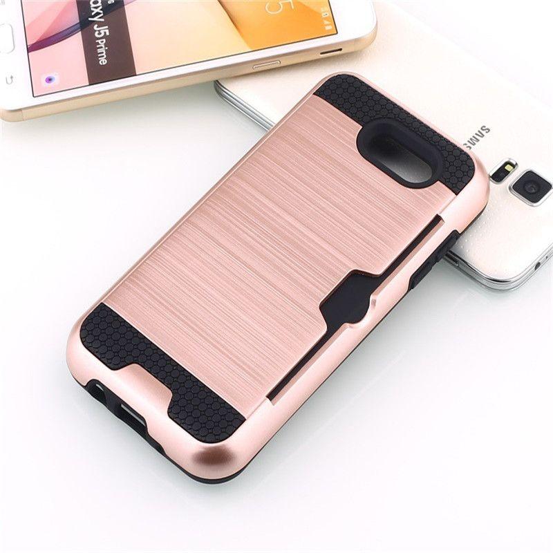 Para Iphone 6 PLUS 6G LG Stylo 3 PLUS stylus 3 Metropcs Armor Hybrid Estuche cepillado de doble capa a prueba de golpes Ranura para tarjeta de crédito