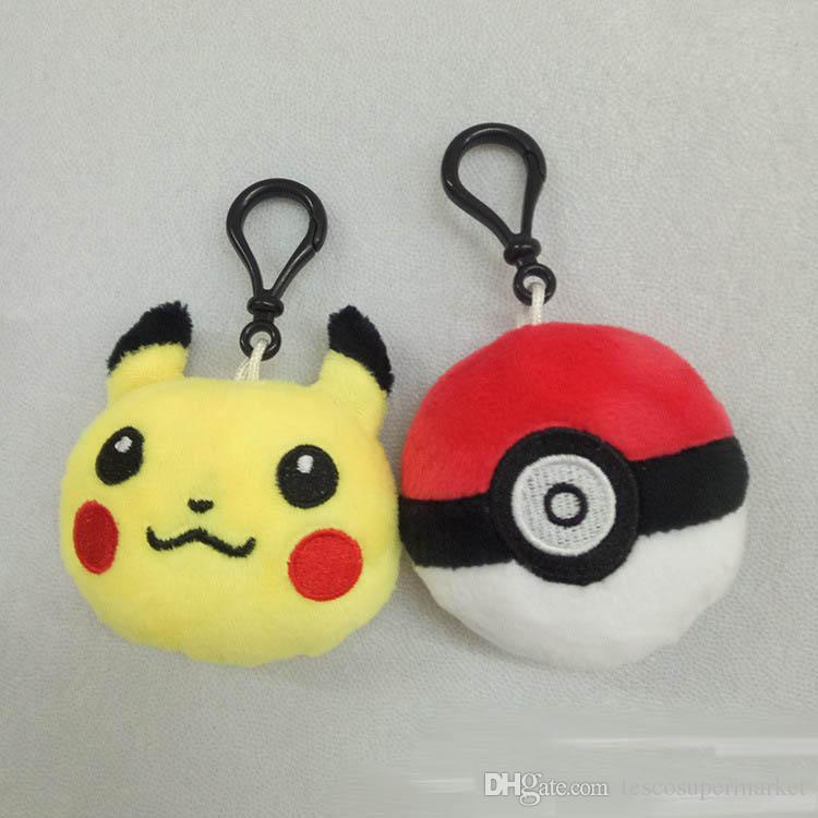 New Poke Pikachu Elf Ball Plush Key Rings Cartoon Action Game Figure Pendant Keychain Cell Mobile Phone Stuffed Keychain Toys Gifts