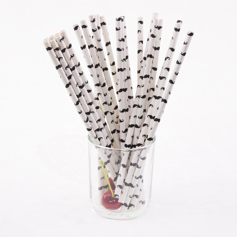 Wholesale- 25pcs/lot Mustache Bamboo Paper Straws For Birthday Wedding Party Christmas Decoration Decorative Anchor Paper Drinking straws