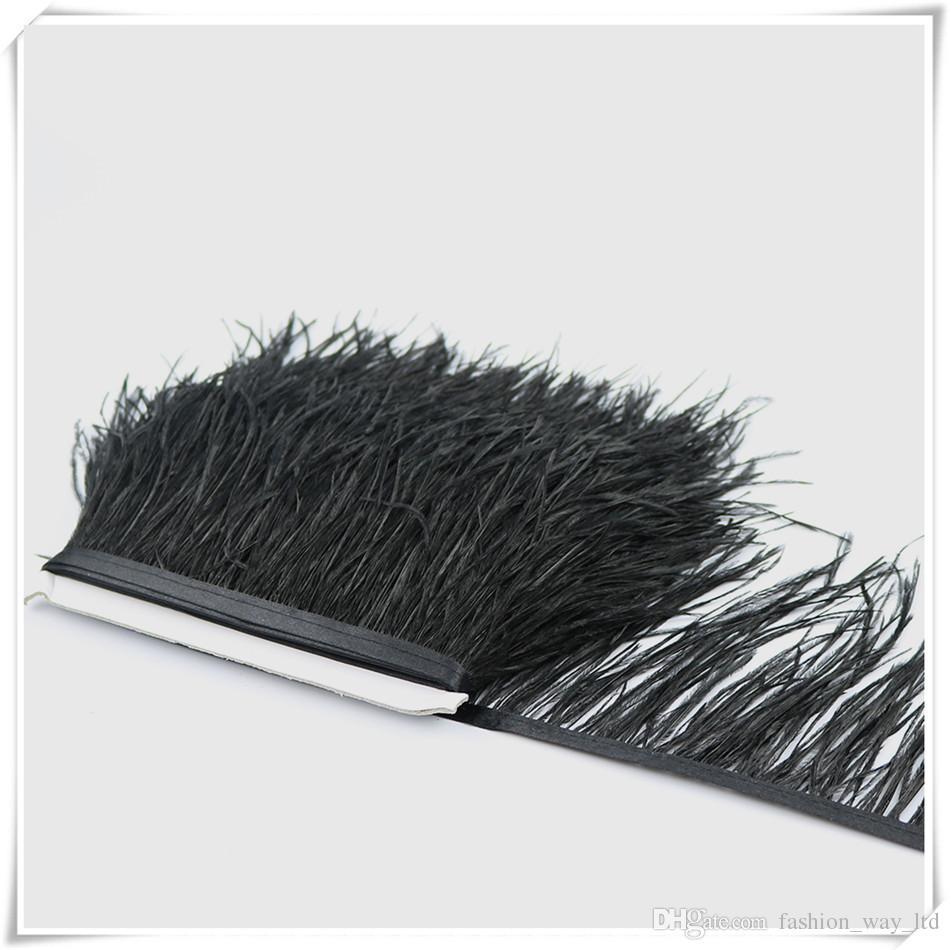 10 yardas / lote Muticolor plumas de plumas de avestruz largas flecos recortar 10-15 cm pluma de la rana de la boa para la ropa de fiesta vestido Skrits accesorios artesanía
