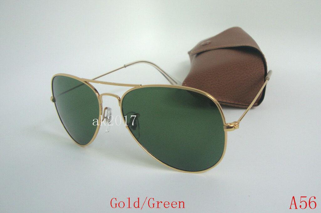 5 Stücke Hohe Qualität Klassische Pilot Sonnenbrille Metall Sonnenbrille Für Männer Frauen Silber Schwarz Glaslinsen UV Schutz Mit Braunen Fall