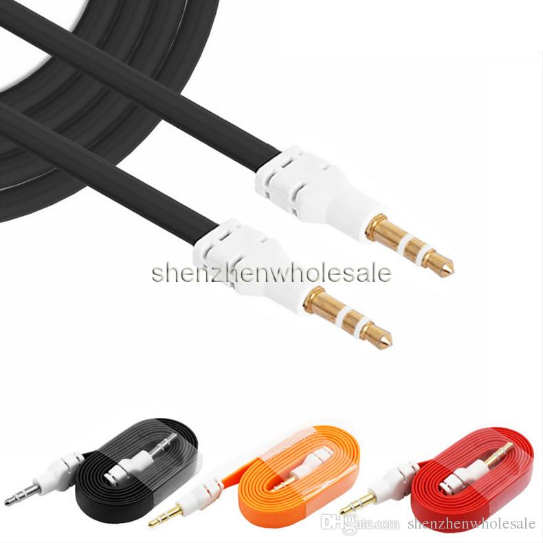 Красочные 3.5 мм Aux аудио кабель между мужчинами плоская лапша стерео вспомогательный музыкальный шнур кабели для динамиков сотовый телефон смартфон samsung note7
