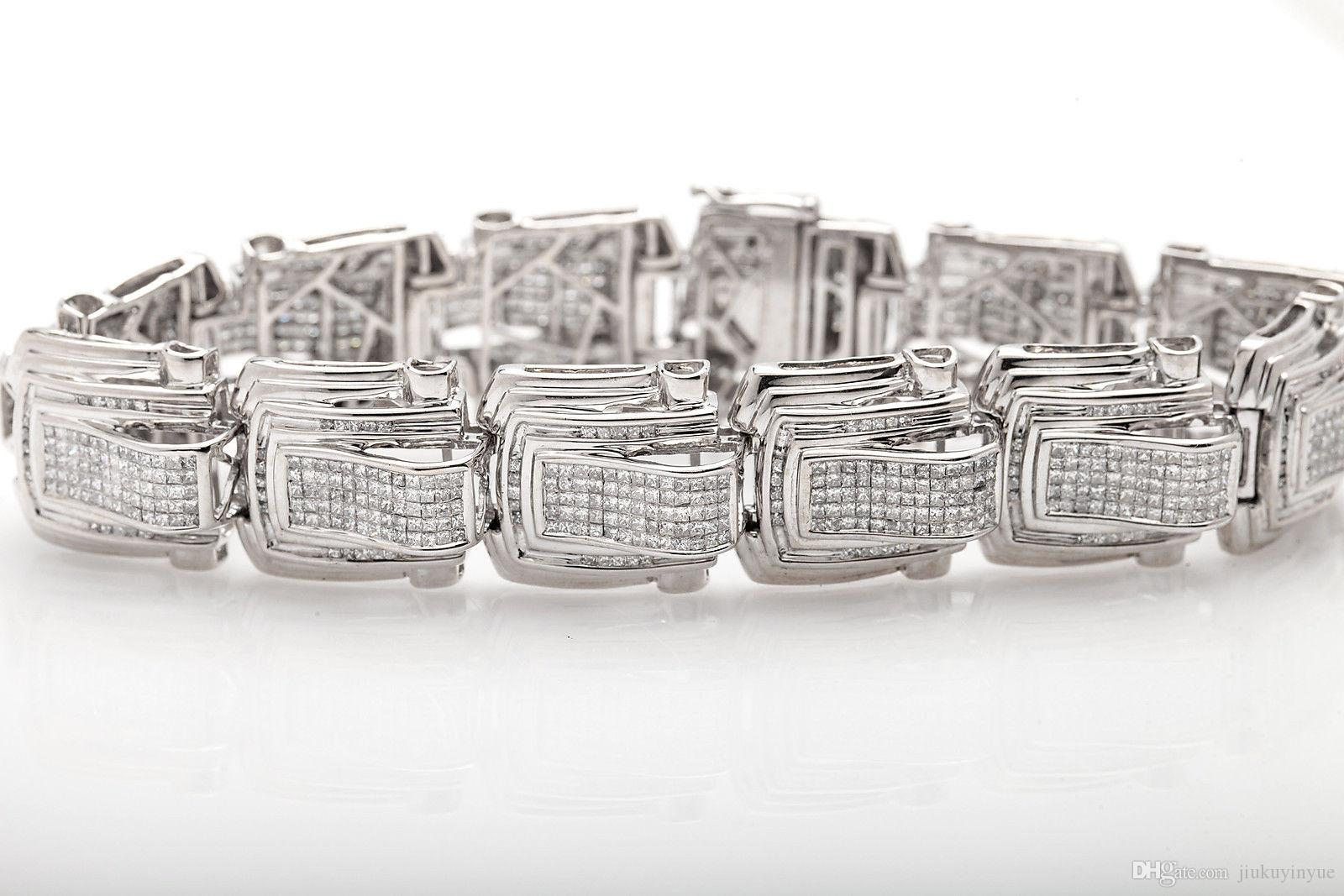 $30,000 Designer 20ct Princess Cut Diamond Mens 14k White Gold ...