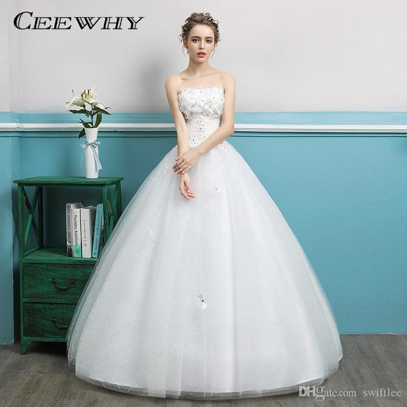 CEEWHY Sweetheart Appliques Lace Ball Gowns Crystal Bridal Wedding ...