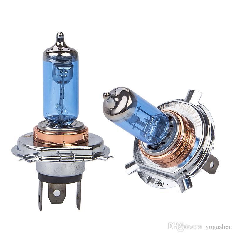 2x100W H4 9003 Car Halogen Fog Light HeadLight DRL HOD Lamp Xenon white 5000K Dark Blue Glass Replacement Bulb Car Light Source