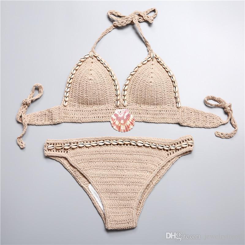 New Summer Bohemian Swimwear for Women Shells Beaded Crochet Swimsuit Cross Halter Tankinis Bikini Set Shorts Knitted Bikini Suit C2980