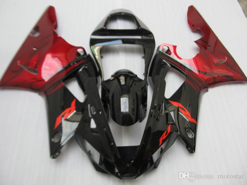 High quality Fairing kit for Yamaha YZF R1 2000 2001 wine red black fairings set YZFR1 00 01 OT12
