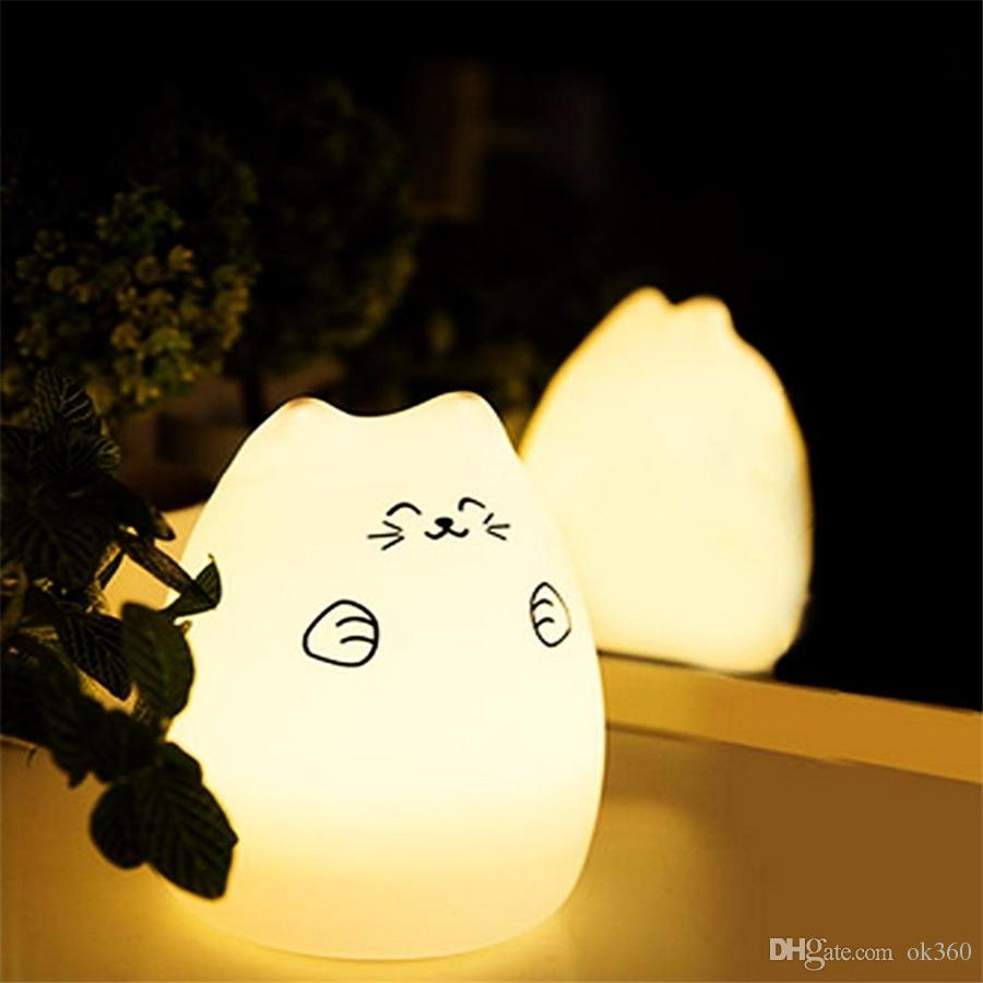 Cat Color Light Changing Silicone Cat Night Lights Bedside Lamp RGB Bulb 2 Modes Children Cute Night Lamp Christmas Bedroom Light
