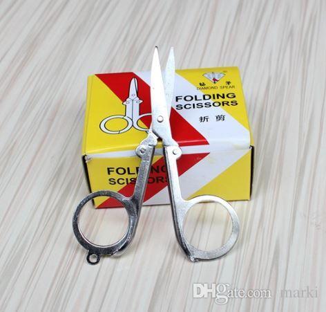 Diamond Spear Hot Sale Home Portable Folding Scissors Mini Folding Foldable Scissors Travel Scissor Color Silver wn004