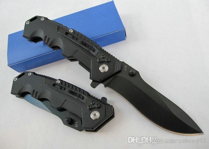 Promosyon !! Yüksek Kalite Soğuk Çelik HY217 Cep Bıçak Katlanır Siyah Blade Bıçak 20 cm Kamp Bıçaklar Çelik Saplı