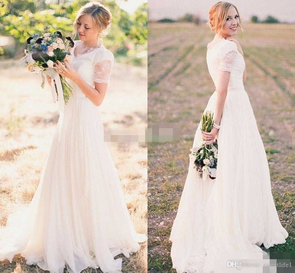 Discount Modest Wedding Dresses 2019 A Line Chiffon With