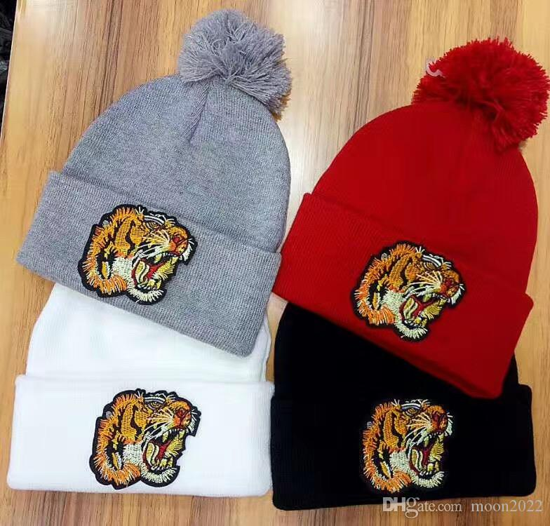 Unisex Winter Fashion brand G fashion Embroidered tiger head men knitted hat beanies women warm wool skullies caps wholesale