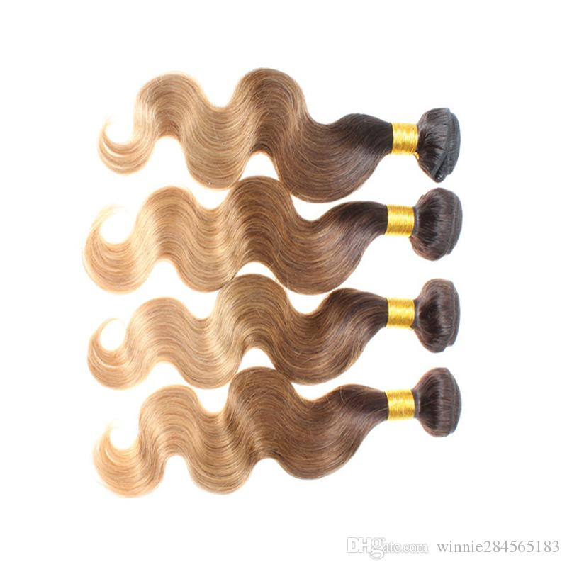 Brazilian Human Virgin Hair Wefts Ombre Color 1b3327 22