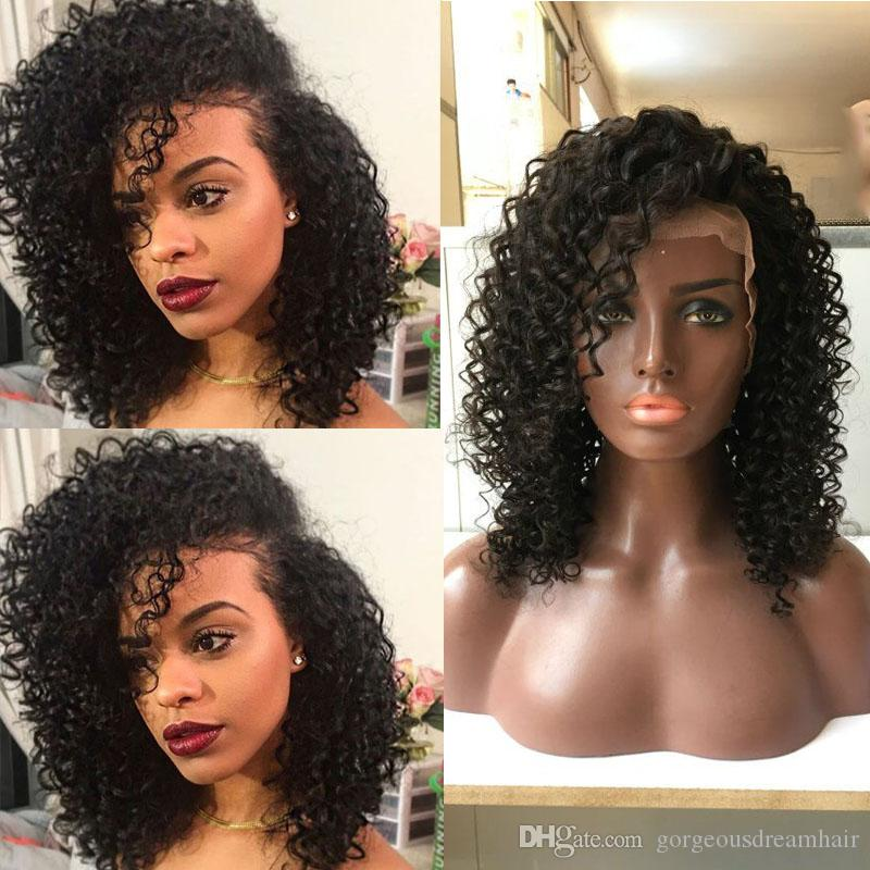 Indian Malaysian Brazilian Kinky curl Full Lace Human Hair Wigs For Black Women And Glueless Lace Front Wigs With Baby Hair