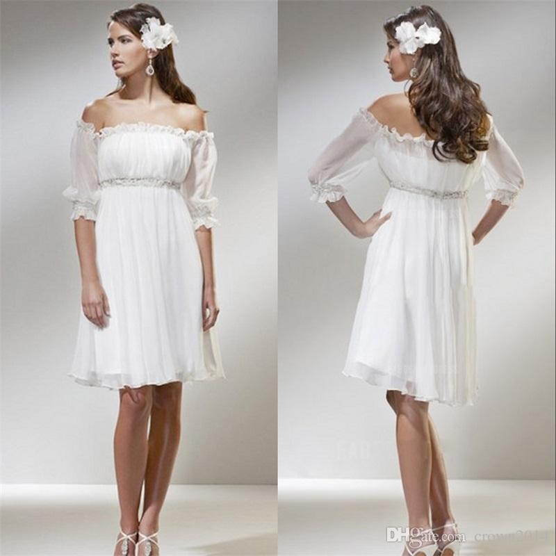 Discount Off The Shoulder A Line Short Beach Wedding Dresses 2017 ...