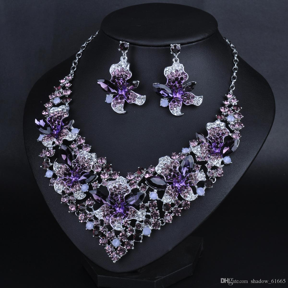 new design bridal jewelry set dubai purple multicolor