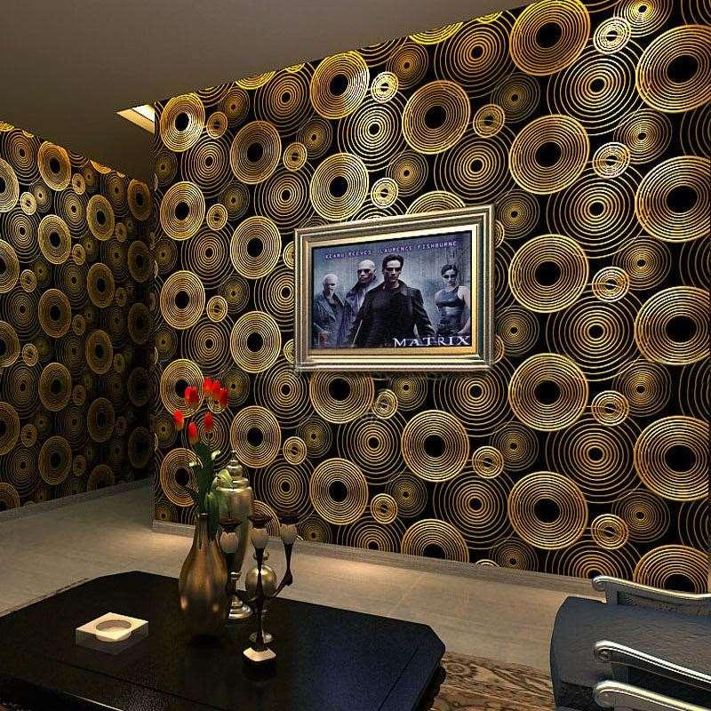 Modern Minimalist 3D Stereoscopic Circles Wallpaper Living Room KTV Bar TV Background Gold Foil Mural Wall Paper Roll I Hd Wallpapers