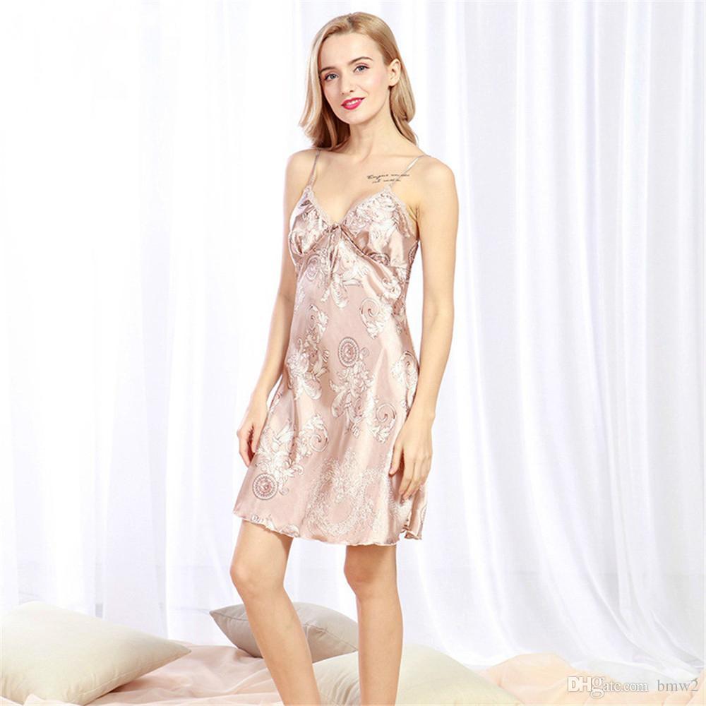 Дамы Сексуальный Шелковый Атлас Ночная Рубашка Без Рукавов Ночные Рубашки Выше Колена Ночная Рубашка Весна Лето Ночная Рубашка Для Женщин