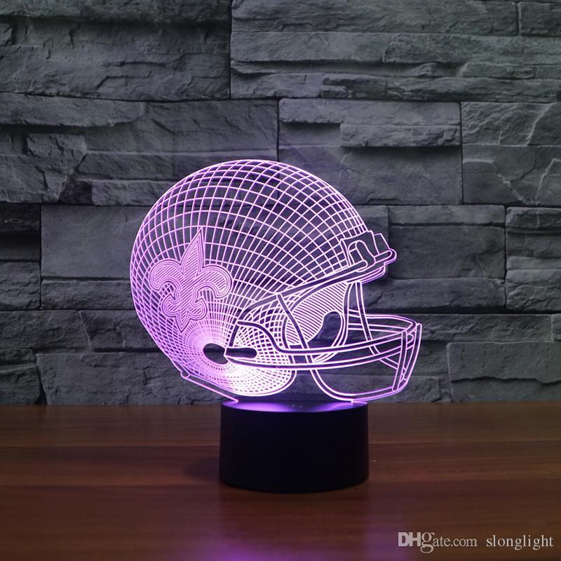Frete Grátis efeito 3D estilo de modelo de capacete de futebol americano levou luz