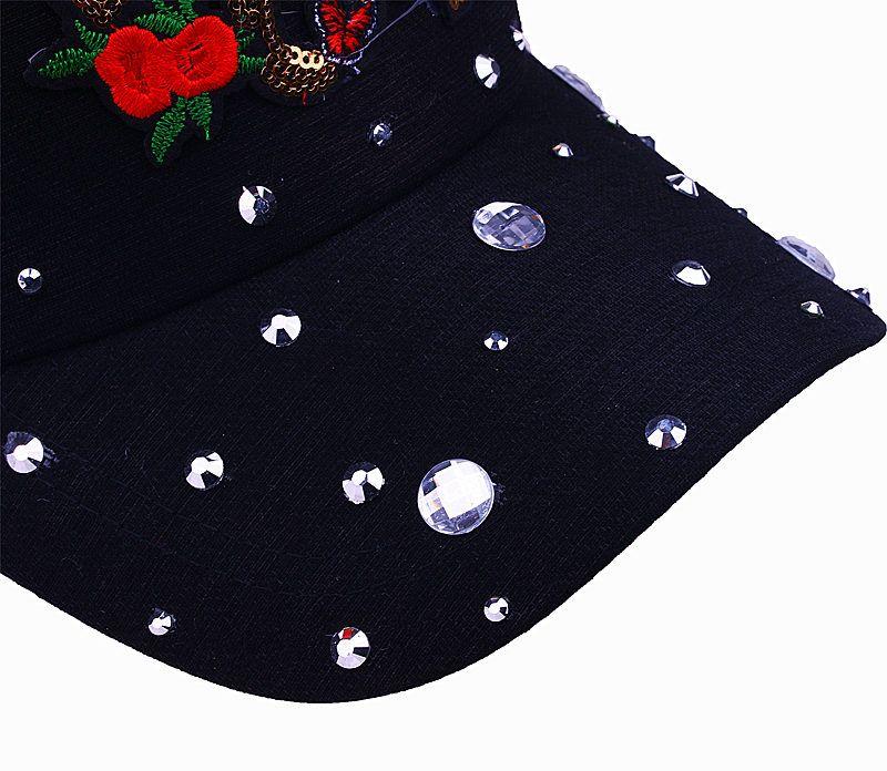 Art- und Weisefrauen-Baseballmütze simulierte Diamanten Rose-Liebes-Buchstabe-Hut Casquette justierbare Hysteresenkappen Knochen-Gorro-Hüte