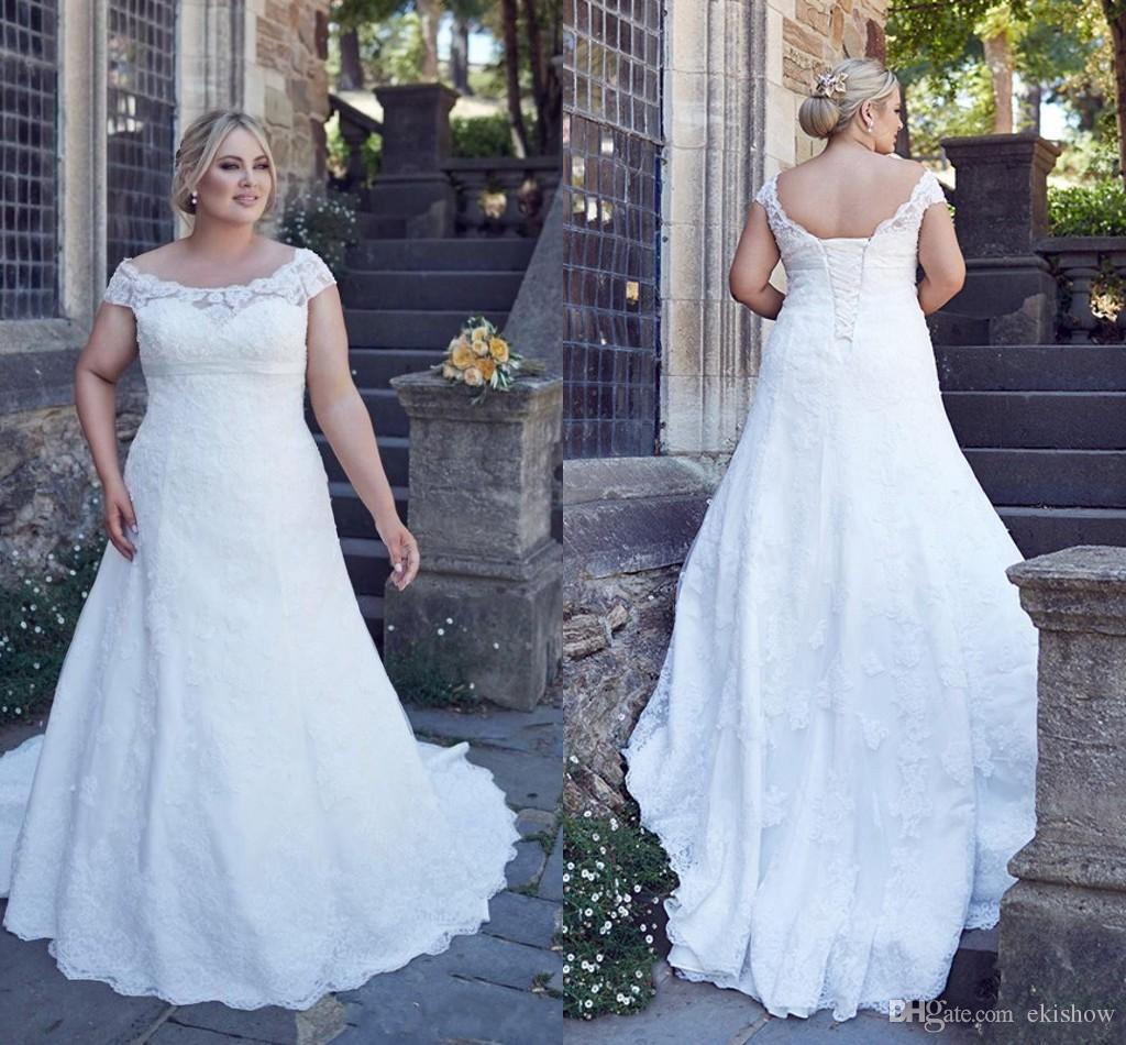 Cheap Plus Size Wedding Dress 2017 Beaded Strapless Bodice: Discount 2017 Cheap Modern Scoop Neck Lace Appliques A