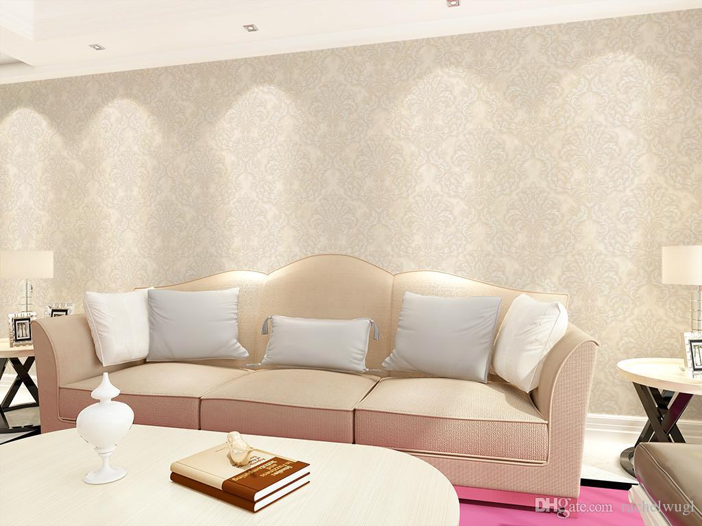 Atacado damasco rolo de papel de parede papel de parede wallcovering rebanho mural papel de parede 3d papel de parede papel de parede de espuma para sala de estar fundo