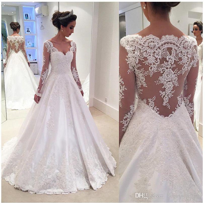 Discount Long Sleeves Taffeta Wedding Dress Princess 2017 Vintage ...
