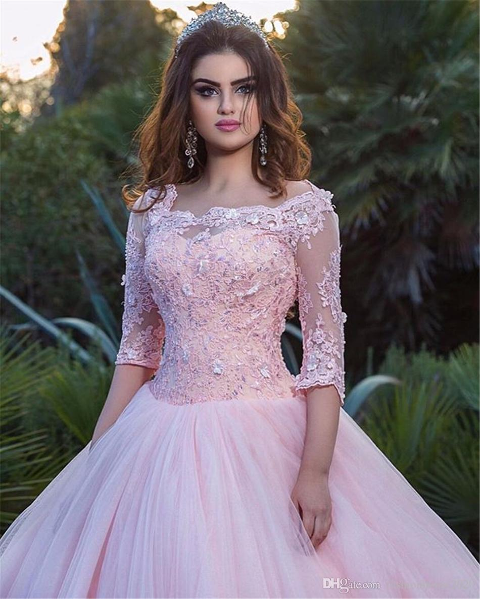Pink Lace Long Sleeve Quinceanera Dresses Square Neck Appliques Ball Gown Prom Dress For 15 Cheap Sweet Sixteen Gowns Custom Made