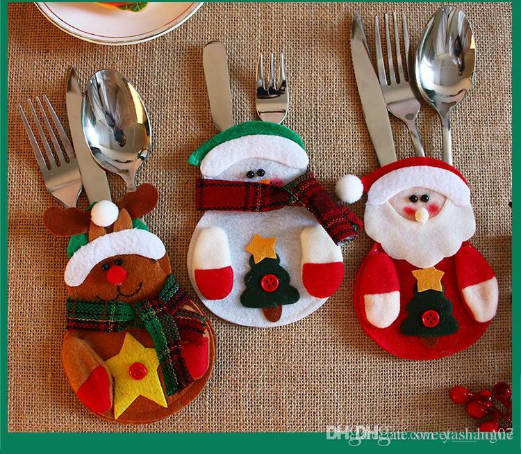 2017 new christmas silverware holder lovely snowman deerlet kitchen tableware holder dinner bag party christmas table cutlery sets decorations with - Christmas Silverware Holders