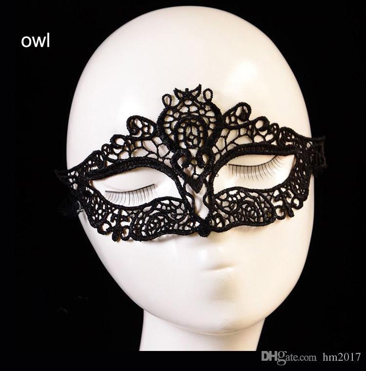 가장 무도회 할로윈 절묘한 섹시한 레이스 마스크 가장 무도회 공주 성인 검은 반 얼굴 중공 레이스 수면 마스크