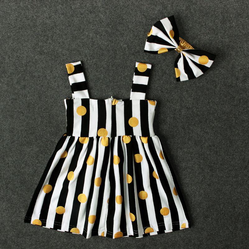 Kleine Mädchen gestreiften Punkte Hosenträger Kleid Set großen Bogen Stirnband + Gold metallischen Punkten Druck Kleid Baby Sommer Kleidung niedlichen Outfits für 1-2T