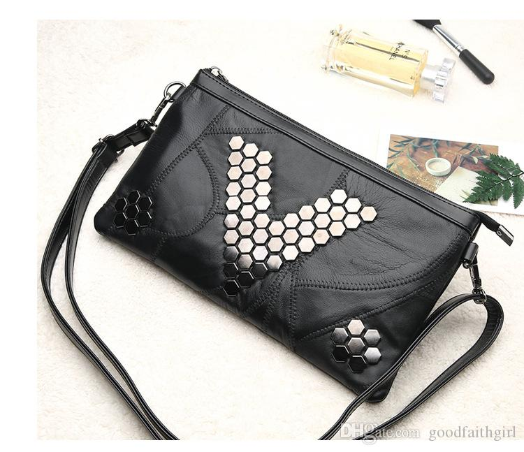 2017 new Fashion Multi-functional Evening party Clutch messenger cosmetic Envelope Purse wallet Handbag Phone Bag shoulder With Rivets