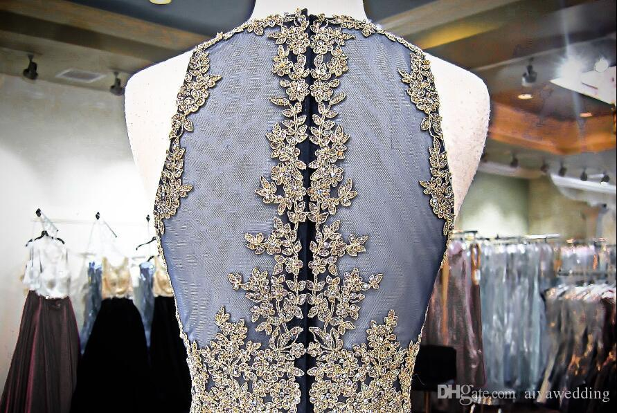 Sexy Mermaid Prom Dresses Gold Lace Crystals Beaded Sheer Illusion Top Two Pieces Evening Formal Gowns Luxury 2019 Real Photos Cheap