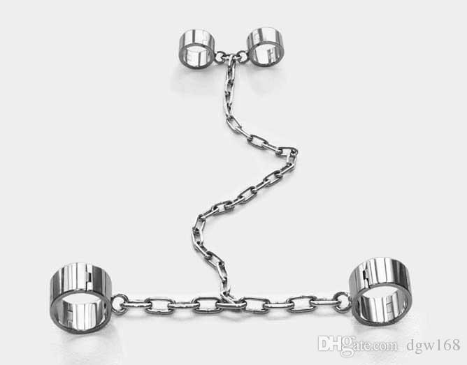 Nuevo Collar Muñeca Tobillo Puños Siamés Acero inoxidable Cadenas resistentes Arnés Juego de esclavitud Adulto Esclavo adulto BDSM Set